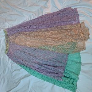 BoHo color block lace skirt from Free People